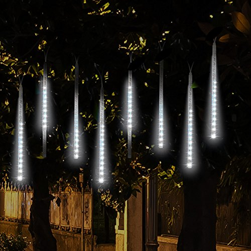 Topist Falling Rain Decoration Lights, Waterproof LED Meteor Shower Lights with 30cm 8 Tube 144 LEDs, Icicle Snow Fall String Cascading Lights for Party, Holiday, Xmas Tree, Garden Decoration (White) ()