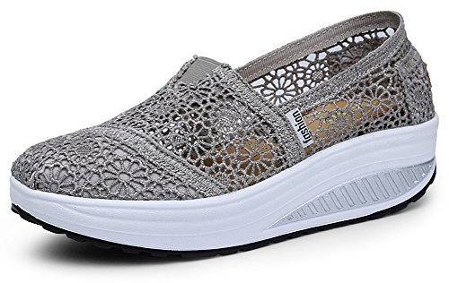 Ausom Womens Crochet Breathable Slip-On Platform Wedges Toning Shoes Walking Fitness Work Out Sneaker Grey COj5UoU