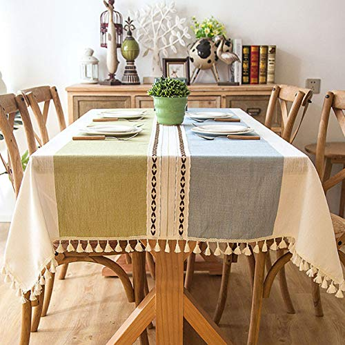 Bringsine Solid Embroidery Lattice Tassel Tablecloth Cotton Linen Dust-Proof Table Cover for Kitchen Dinning Tabletop Decoration(Square, 55