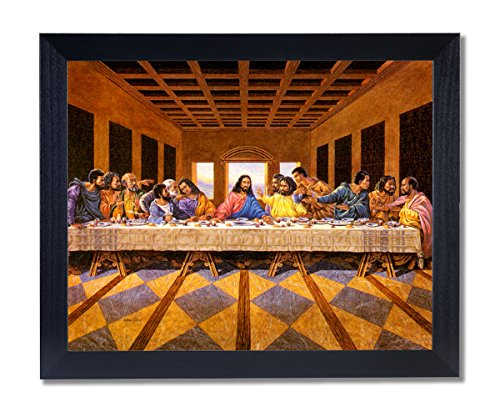 (African American Black The Last Supper Jesus Christ Religious Picture Black Framed Art Print)