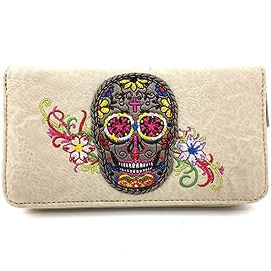 Justin West Fashion Mulitcolor Embroidered Floral Sugar Skull Women Purse Shoulder Handbag Flat Wallet (Beige Wallet)
