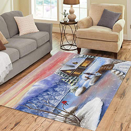 Semtomn Area Rug 5' X 7' Snow Winter Evening Landscape Village Beautiful Beauty Building Child Home Decor Collection Floor Rugs Carpet for Living Room Bedroom Dining Room