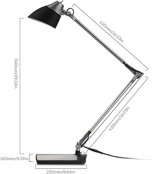 Lampada Led Scrivania Taotronics Lampada Da Tavolo 6w Braccio Flessibile Testa Rotabile Eye Care Finitura In Argento Nero Amazon It Illuminazione