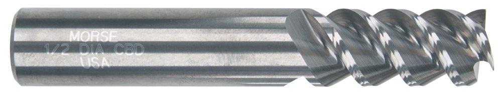 Morse Cutting Tools 52933 Variflute NF High Performance End Mills Solid Carbide Standard Length 3 Flutes Center Cutting Corner Radius Bright Finish 1//2 Size