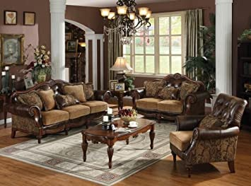2 Pc Dreena Collection Two Tone Chenille Fabric And Bonded Leather  Upholstered Sofa And Love Seat
