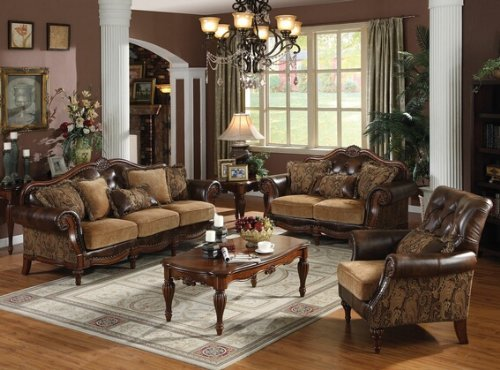 2 Tone Leather Loveseat (2 pc Dreena collection two tone chenille fabric and bonded leather upholstered sofa and love seat with wood trim accents)