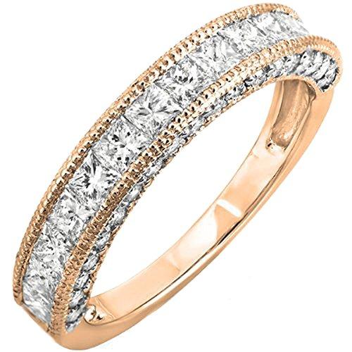 Rose Gold Princess Diamond - Dazzlingrock Collection 1.40 Carat (ctw) 14K Princess & Round Diamond Ladies Anniversary Wedding Band, Rose Gold, Size 8