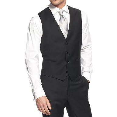 52740e9ffaafd9 Amazon.com  Calvin Klein Mens Wool Slim Fit Suit Vest Black 36S  Clothing