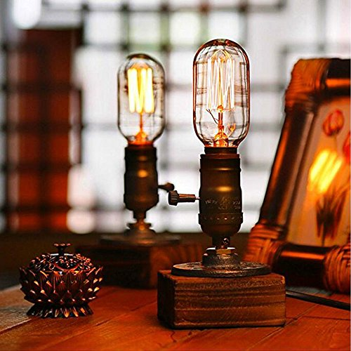 Kiven Vintage Industrial Decor Vintage Table Light Edison Bulb Wooden Desk Lamp Retro 1930s Home Decor Lighting Antique Nightlight Art Display