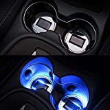 LED Cup Holder Lights, 2 Pack of 2.7-Inch Solar-Powered LED Light Cover Cup Holder Bottom Pad Cover Light Car Interior Decoration Universal Trimmed for Sedan, SUV, Truck, Camper (Blue)