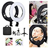 Yidoblo 12'' Dimmable Bi-color LED Light Ring FS-390II Kit with Mini Table Stand, Carrying Bag, Photo Holder for Portrait Selfie Youtube Photo Video Studio Photography Lighting