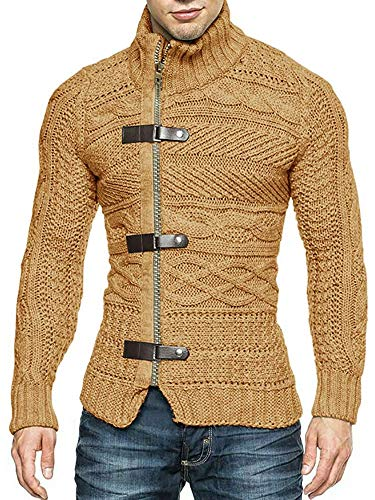 Men's Casual Wide Stripes Zipper Knitted Cardigan Sweater(Brown-Large) ()