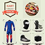 Sports Blue Go Kart Racing Suit Suit,Gloves,Balaclava and Shoes free bag - Blue With Red White Style