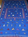 Moroccan Handmade Area Rug Wool Kilim Berber Carpet Blue