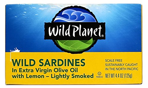 Wild Planet Wild Sardines in Extra Virgin Olive Oil With Lemon, Lightly Smoked – 4.4oz Can (Pack of 12) - Fish Lemon Olive Oil