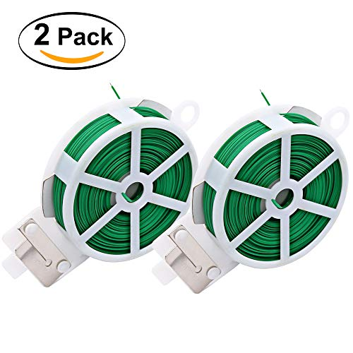 (KLOLKUTTA 2 Pack Garden Plant Twist Ties with Cutter, 328 Feet Sturdy Plastic Multi-Use Reusable Rubber Coated Metal Utility Tie for Gardening, Home, Office (Green))