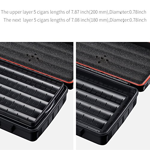 Cigar Travel Case Double Layer Accommodates 10 Cigars Portable Box(Color:Red) … by CIGARLOONG (Image #2)