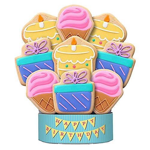 Shari's Berries - Birthday Celebration 9 Piece Cookie Bouquet - 9 Count - Gourmet Baked Good Gifts