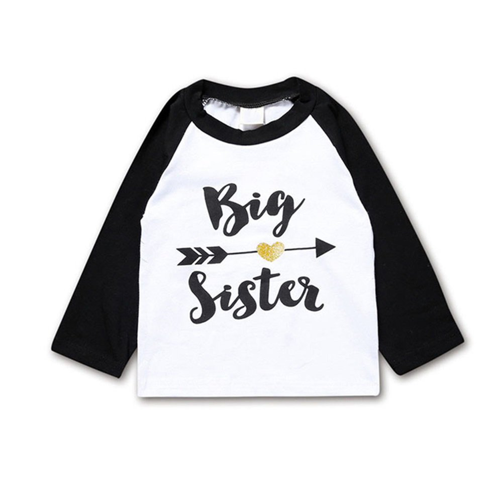 Toddler Girls Big Sister T Shirt Matching Little Brother Baby Bodysuits White