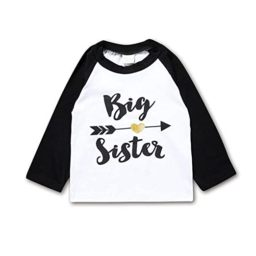 c498a0638 Amazon.com: Toddler Girls Big Sister T Shirt Matching Little Brother Baby  Bodysuits White: Clothing