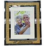Glorious Occasions Pavilion Gift Company 85115-50th Anniversary Gold Crystal Mirrored-4x6 Picture Frame