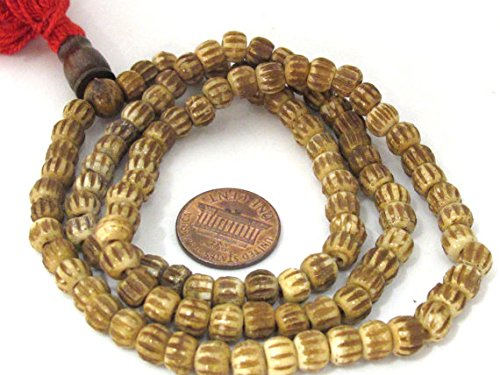 (Camel brown 108 Tibetan melon grooved bone mala beads supply small 6 mm size with Guru bead - ML067)