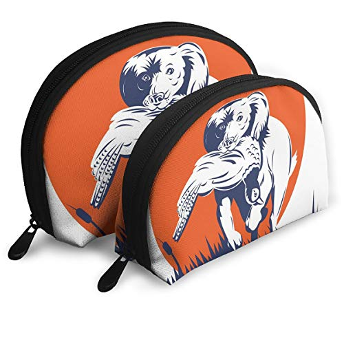 Shell Shape Makeup Bag Set Portable Purse Travel Cosmetic Pouch,Cocker Spaniel Breed Dog Retrieving The Pheasant Flying Ducks At Sunset,Women Toiletry ()
