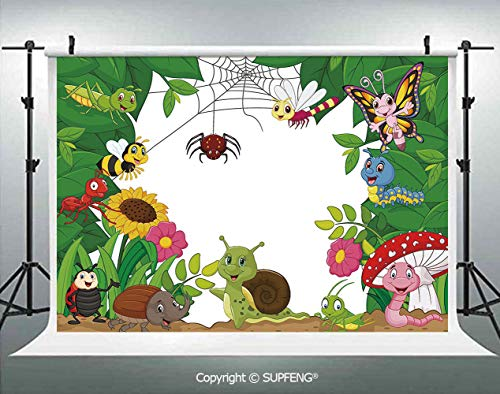 Photography Background Happy Little Butterflies Bugs Insects Comic Caterpillars Dragonflies Spider Web 3D Backdrops for Photography Backdrop Photo Background Studio -