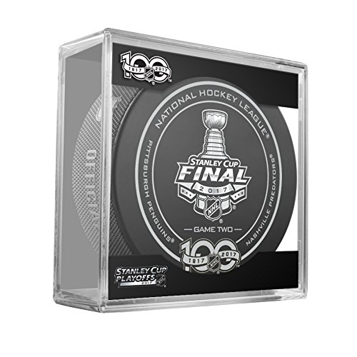 2017 Stanley Cup Finals Game #2 (Two) Pittsburgh Penguins v Nashville Predators Official Game Hockey Puck with (Two Penguins)