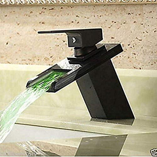 水タップバスルームシンクの蛇口滝オイルラビングブロンズセンターセット1つの穴/シングルハンドル1つの穴バスタップ実用的なキッチンバスルーム用品キッチンバスルーム用品