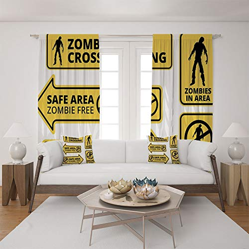 2 Panel Set Satin Window Drapes Living Room Curtains and 2 Pillowcases,Free Safe Protection Zone Caution Sign Horror War,The perfect combination of curtains and pillows makes your living room ()