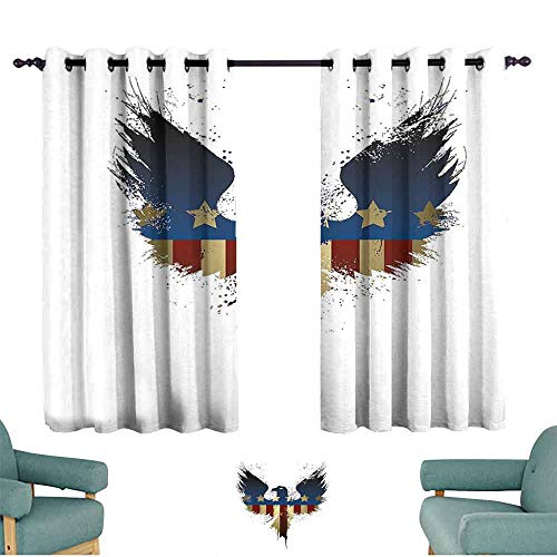 Mannwarehouse Eagle Kids Room Curtains The American Flag on Silhouette of National Bird of The Country Majestic Animal Suitable for Bedroom Living Room Study, etc.55 Wx63 L Blue Red Sepia ()