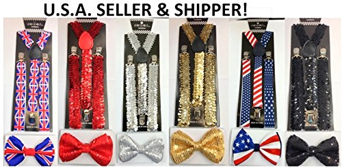 Unisex Fashion Adults Teens Teenagers Solid Gold Sequin Adjustable All Polyester Silk Bow Tie and Matching Adult Teens Teenagers Solid Gold Sequin Adjustable Suspenders Combo-new in Factory Pkg! -