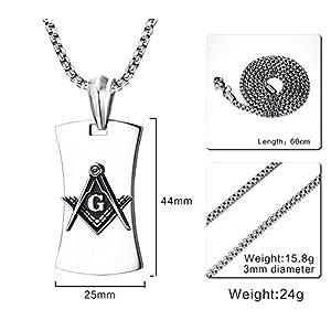 MP Men's Stainless Steel Freemason Masonic Dog Tag Pendant Necklace Jewelery Silver,Free Chain