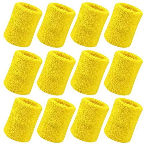 Vidillo Sweatband, Wrist Sweatband 12 Pack, 4 Inch Sports Sweatband Wristband Soft Thicken Cotton,for Tennis Gymnastics Football Basketball, Running Athletic Sports (White) (Yellow)