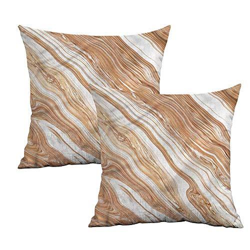 (Khaki home Marble Square Pillowcase Protector Classic Stylized Pattern Square Custom Pillowcase Cushion Cases Pillowcases for Sofa Bedroom Car W 20
