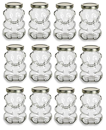 Nakpunar 12 pcs 9 oz Glass Bear Jars with Gold Lids for Honey, Candies, Piggy Banks (12, Gold) for $<!--$27.99-->