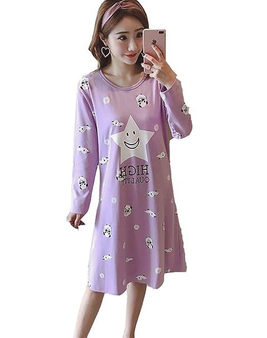DSJJ Pijama Mujer Algodon Otono Manga Larga camisón Mujer Talla Grande Ropa de Dormir Vestido Casual (M-3XL): Amazon.es: Ropa y accesorios