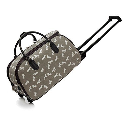 Bolsa de viaje, equipaje de mano para mujer, con ruedas para llevar como carrito E - Gris