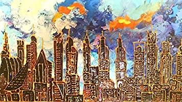 Blue Dubai Skyline acrylic on canvas original art: Amazon com
