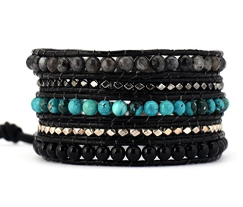 Onyx Nugget (Mix Turquoise Onyx Metal Nuggets Wrap Bracelet Handmade Woven Leather 5 Multilayer 4 mm Beads Boho Style)