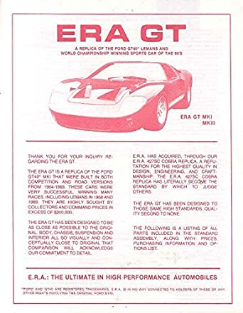 Ford Gt Era Gt Kit Car Brochure