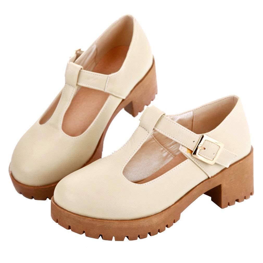 Caradise Womens Mid Block Heel Mary Jane T Strap Uniform Shoes