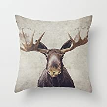 "Sofapartner Moose Print Square Throw Pillow Covers 20""x 20"""