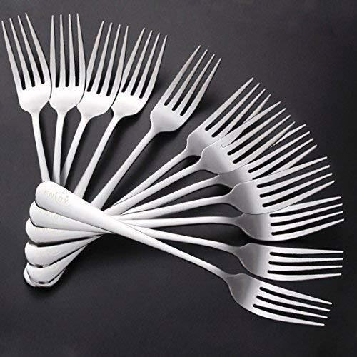 Dinner Forks, Stainless Steel Silverware Table Forks Set 12-Piece Mirror Polished Modern Flatware Cutlery Forks for Kitchen, Matching Spoons or Knifes, Commercial Restaurant Easy to Clean 8 inches by ENLOY (Image #1)