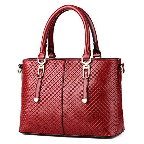 Claret Vvting red many with crossbody Handbag brand pockets hard leather black bags women in for color wxEqf6Rg