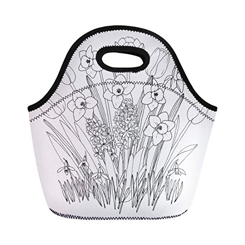 Semtomn Lunch Bags Spring Garden Flowers Coloring Page Blooming Daffodils Tulips Snowdrops Neoprene Lunch Bag Lunchbox Tote Bag Portable Picnic Bag Cooler Bag ()