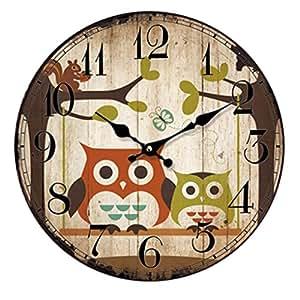 Muluo 14inch Home Digital Wall Clocks Owl Printing Living Room Quartz Round Wood