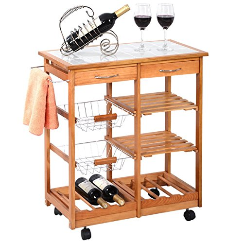 Portable Rolling Wooden Kitchen Trolley Cart Countertop Dining Storage  Drawers Stand New W/ 6 Bottle Wine Rack