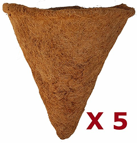 14'' Cone Shaped Coco Moss Liner - 15'' Deep - Pack of 5 Liners by Topiary Art Works